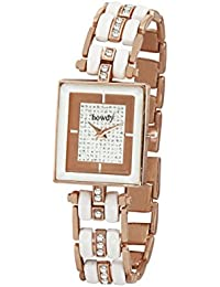 Howdy White Analog Dial Crystal Studded Stainless Steel Chain Women Watch (howdy-ss1076)