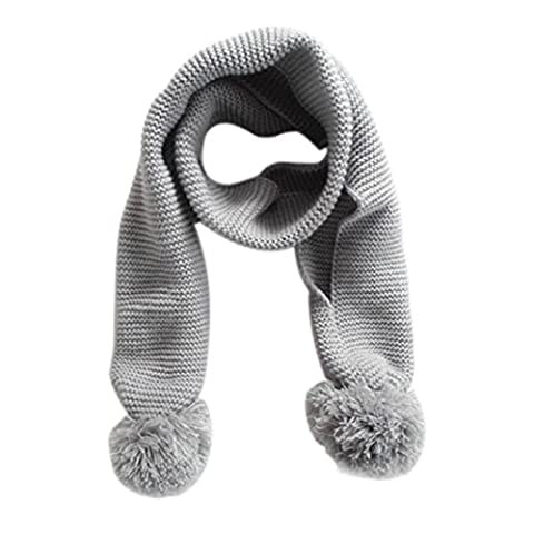 Baby Knitted Scarf Neck Warm, VENMO Solid Color Winter Scarf for Baby Boy Girl Kids (Gray)