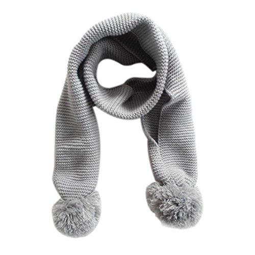 Schal Baby,Baby Cute Solid Color Scarf Neck Winter Warm Boy Girl Knitted Scarf By Dragon868 (Grau) (Solid Color Gestrickt)