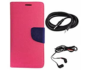 Avzax Diary Look Flip Wallet Case Cover For Micromax A110 Canvas 2 (Pink) + Aux Cable + In Ear Headphone
