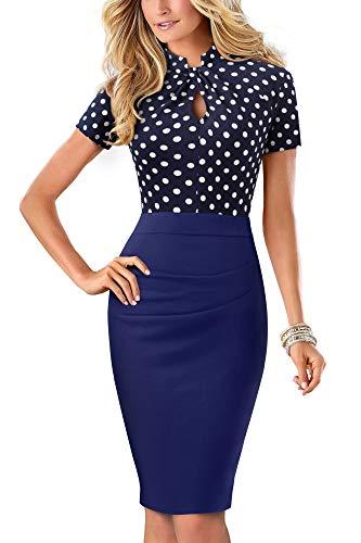 HOMEYEE Damen Vintage Stehkragen Kurzarm Bodycon Business Bleistift Kleid B430 (EU 38 = Size M, Dot)
