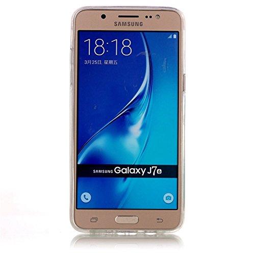 Samsung Galaxy J7 (2016 Version) Coque Gel TPU Silicone Etui Intégrale Transparent Case pour Samsung Galaxy J7 (2016 Version) Housse Protection Full Silicone Souple Case, Vandot Samsung Galaxy J7 (201 C-Papillon
