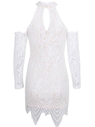 simplee abbigliamento donna fredda manica lunga festa cocktail mini vestito di pizzo White