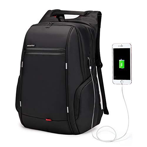 Wind Took 15,6 Zoll Laptop Rucksack Herren Reiserucksäcke mit USB-Ladeanschluss Anti Diebstahl für Business Schule Uni, 30 x 16 x 45, Schwarz