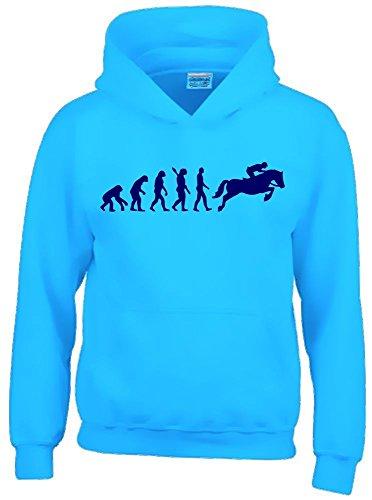 Reiten Pferd Kostüme Cowboy (REITEN Evolution Kinder Sweatshirt mit Kapuze HOODIE sky-navy,)