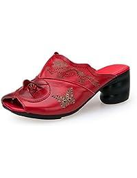 Onfly Pompe Mules Chaussons Chunky Heels Des sandales Dames Cuir véritable Confortable Respirant Fleurs Fond doux Creux Cool Pantoufles Eu Taille 35-40