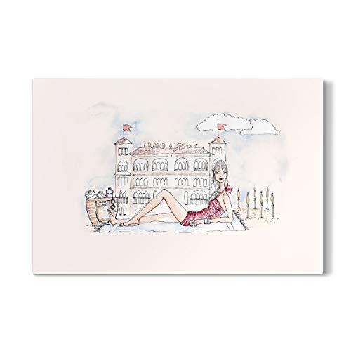artboxONE Galerie-Print 30x20 cm Ich und das Grand Hotel hochwertiges Acrylglas auf Alu-Dibond von Nadja König