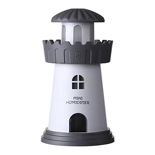 YWXR Leuchtturm Befeuchter Ultraschallwelle Luftbefeuchter Auto Belastung USB Kreativ Vernebler 150ML Tragbar Luftreinigungsapparat Haushalt Büro Dekoration Humidifier Geschenk Nachtlicht,Gray