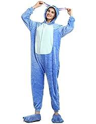 Pijama de invierno de una pieza, diseño Stitch azul, unisex, para adultos, de franela, azul, large