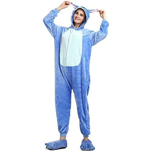 pijama de unicornio kawaii Pijama de invierno de una pieza, diseño Stitch azul, unisex, para adultos, de franela, azul, small