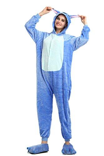 Winter Warm Flannel Onesie Pajamas Adult Unisex One Piece Blue Stitch Pajama Test