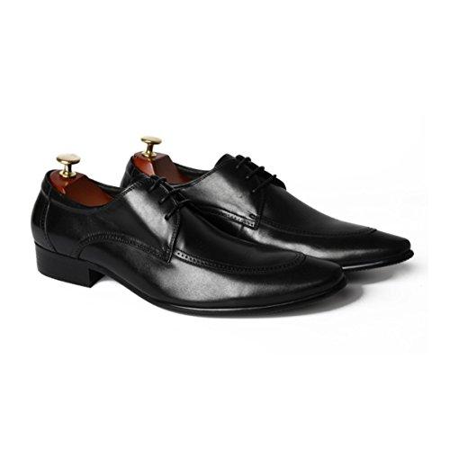 LYZGF Uomini Giovani Affari Tempo Libero Abbigliamento Formale Scarpe A Punta In Pizzo In Pelle Black