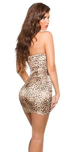 In-Stylefashion - Robe - Femme Argenté Argent Orange - Effet léopard