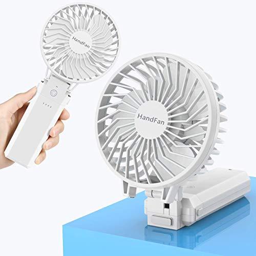 HandFan Faltbare Hand Ventilator-Schreibtisch USB-Ventilator persönlichen Fan Clip-Ventilator mit 5 Geschwindigkeitseinstellung 5200mA Mobile Power Akku für Spaziergänger Camping-Zelt Dorm Büro