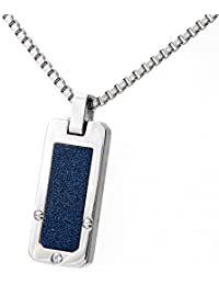 Theia Stainless Steel Rectangular Pendant Crystalised with CZ Necklace (Black, Blue or White)
