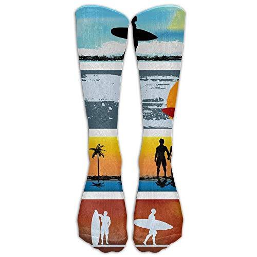 ch Surfing Athletic Tube Stockings Women's Men's Classics Knee High Socks Sport Long Sock One Size ()