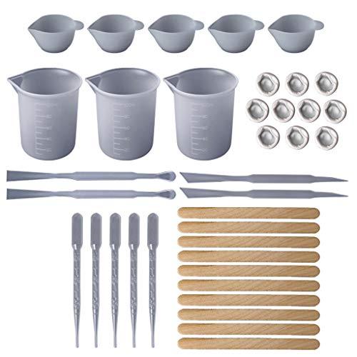 Huafi 1 Satz DIY Epoxidharz Werkzeuge Messen Cups Silikon Cup Mix Stick Holz Sticks Dropper Anpassung Teller Schmuck Machen Handgemachte Professionelle Materialien Zubehör -