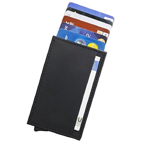RFID Carte de crédit Titulaire de Automatique Pop-up En aluminium Blocage Étui en cuir Entreprise Slim Mini Porte-monnaie (001Noir++)