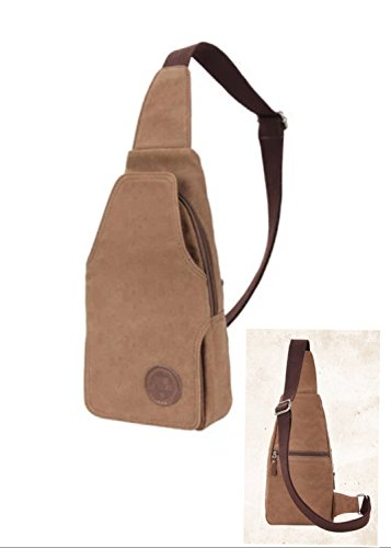 DoubleVillages Tela borsello tracolla uomo Borsa a Tracolla / borsello Petto Uomo / Borsa Messenger / Borsa Borsetta a spalla /Messenger bag /sling bag /chest bag /crossbody bag/ Zainetto Monospalla -Coffee