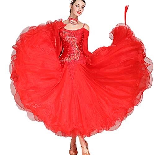 ZXYYUE Erwachsenes Mädchen Mehr Farben Walzer Modern Dance Wettbewerb Kleid National Standard Ballsaal Performance-Kleider Tango Strass Kostüm Lange ()