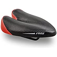 Duopower Free Sillín de Bicicleta, Hombre, Negro / Rojo, 132 mm