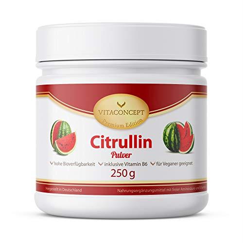 L-Citrullin hochdosiert 250g - inkl. Vitamin B6 - Aminosäure - Vegan und Laborgeprüft - Made in Germany by VITACONCEPT