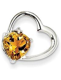 Sterling Silver & 12K Rose y hojas flotantes Collar del corazón por UKGems-Sterling Silver & 12K Rose and Leaves Floating Heart Necklace by UKGems