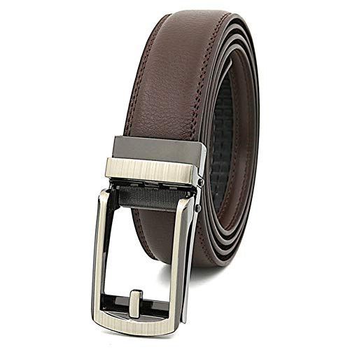 Gizayen Highly Durable Genuine Leather Ratchet Belt, Leather Ratchet Belt No Holes Multipurpose Jeans Pants Belt for Men Women Business Daily