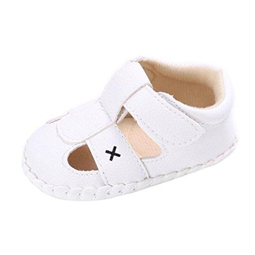 Koly_Ragazza dei Ragazzi Morbida Suola della Greppia del Bambino Appena Nato Sandali Scarpe (SIZE1, Bianco)