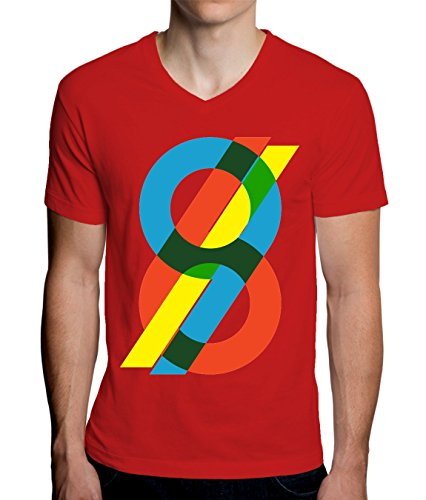 sixty Nine 69 Graphic Red Yellow Blue Men's V-Neck T-Shirt XX-Large - Dps-t-shirt