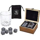 WOMA 6 Whisky Steine mit Whiskey Glas und Holz Geschenkbox - Whiskeysteine aus natürlichem Basalt - Eiswürfel Wiederverwendbar