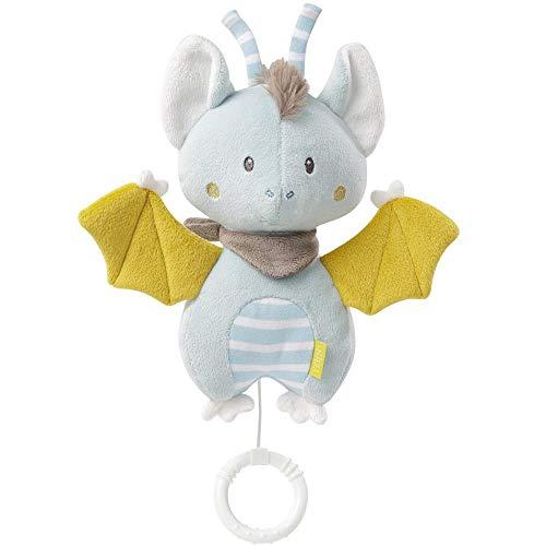 Fehn 065022 Spieluhr Fledermaus / Kuscheltier mit integriertem Spielwerk mit sanfter Melodie zum Aufhängen an Kinderwagen, Babyschale oder Bett, für Babys und Kleinkinder ab 0+ Monaten
