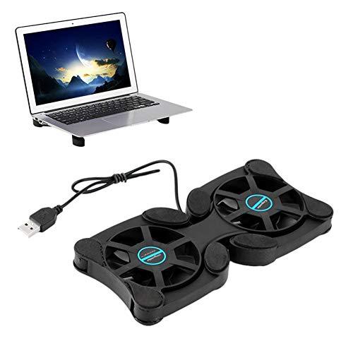 QWER Faltbarer USB-Lüfter Mini-Notebook-Kühler Cooling Pad Sicherheit Ständer Doppelventilatoren Für 7-15 Zoll Notebook-Laptop,Black