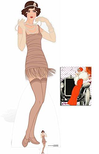 Fan Pack - 1920s Gatsby Flapper Girl Beige Dress Lebensgrosse und klein Pappaufsteller - mit 25cm x 20cm ()