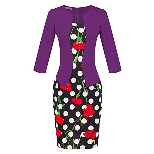 Fortuning's JDS Stilvolle Bodycon Faux Twinset Design Halbe Ärmel Reich Taille mit Gürtel Mini Kleid für Frau, S-3XL Europa Größe, Mohn in (Silhouette Definition Kostüm)