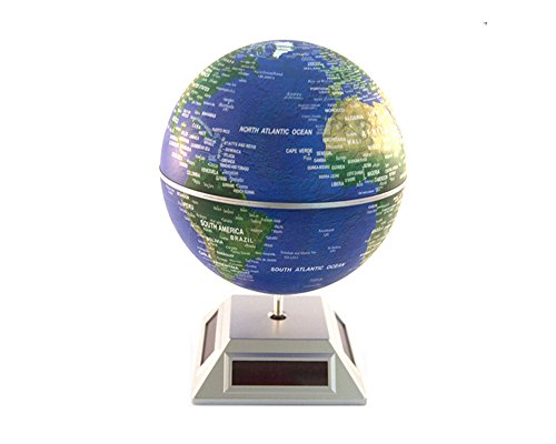 nti Gravity Globe mit Weltkarte Neuheit Induktive LED Beleuchtung Magnetic Levitation Floating Spinning Globe Home Office Dekoration 14cm Blau ()