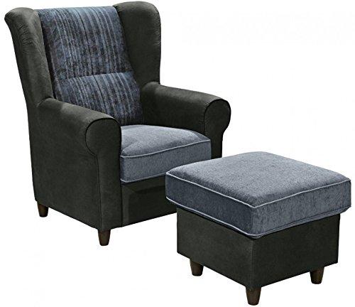 CANYON Sessel mit Hocker Hochsessel Ohrenbackensessel Einzelsessel Schwarz/Blau