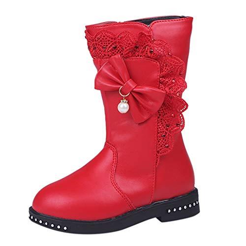 Neue Kinder Säugling Kinder Baby Mädchen Winter Warm Bowknot Lace Schneeschuhe Plus Samt warm zu halten Hohe Stiefel Schuhe hochwertige rutschfeste Schuhe (Rot, Schwarz, Rosa, Wein) 27-35,5 EU