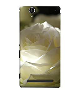 FUSON Designer Back Case Cover for Sony Xperia T2 Ultra :: Sony Xperia T2 Ultra Dual SIM D5322 :: Sony Xperia T2 Ultra XM50h (White Rose Flowers Phool Pushp Art )