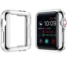 Yolin [2-Pack] Apple Watch Series 6/ SE/Series 5 / Series 4 40mm Screen Protector, iwatch Cover Soft Transparent TPU All-around Protective Case For Apple Watch 40mm (1 Silver + 1 Transparent)