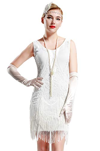 Gatsby Party Kostüm - Coucoland 1920s Kleid Damen Flapper Kleid ohne Ärmel V Ausschnitt Knielang Charleston Kleid Gatsby Motto Party Damen Fasching Kostüm Kleid (Weiß, S)