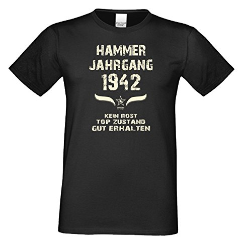 Geschenk Set : Geschenkidee 75. Geburtstag ::: Hammer Jahrgang 1942 ::: Herren T-Shirt & Urkunde Geburtstagskind des Jahres für Ihren Papa Vater Opa Großvater ::: Farbe: schwarz Schwarz