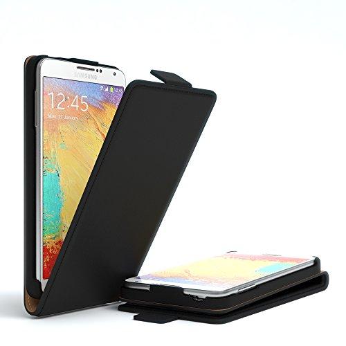 Samsung Galaxy Note 3 Neo Hülle - EAZY CASE Premium Flip Case Handyhülle - Schutzhülle aus Leder zum Aufklappen in Anthrazit Schwarz