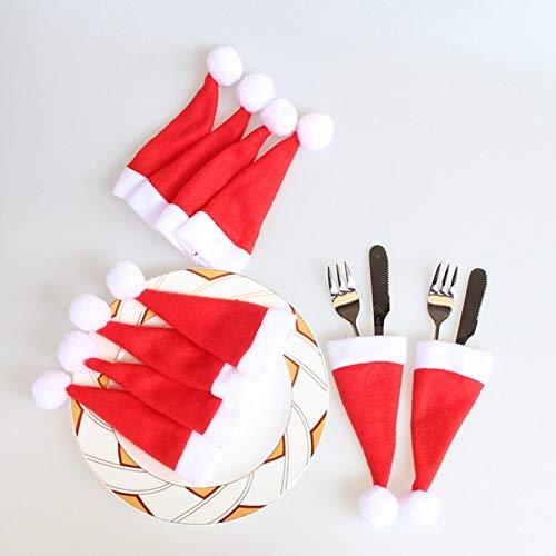 Iseasy set 10 pezzi porta posate natale feltro bianco rosso [6 x 12 cm lavabili inodore], cappellini portaposate natalizi bianchi rossi forma cappello babbo natale