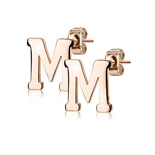 Bungsa BUCHSTABE M Ohrstecker Rosegold - BUCHSTABEN M Ohrring in Rosegold - Alphabet Ohrringe zum Stecken - aus Edelstahl - Ohrschmuck für Damen, Kinder & Herren