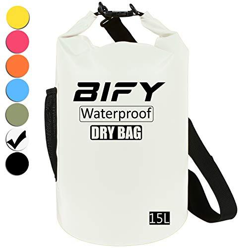 Dry Bag BIFY 5L/10L/15L/20L/25L/30L/40L Leicht Wasserfester Rucksack/Wasserdichte Tasche/Trockensack mit lang Verstellbarer Schultergurt für Boot und Kajak Wassersport Treiben (Weiß, 15L)