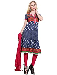 Rama Women's Printed Red Anarkali Kurta With Legging Dupatta Set