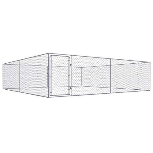vidaXL Perrera de Exterior de Acero Galvanizado 4x4 m Caseta Mascotas Patio