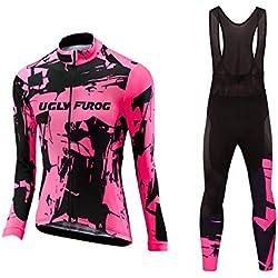Uglyfrog Designs Ciclismo Jersey Mujers Bicicleta Ropa Camiseta de la Bicicleta Top MTB Jersey Manga Larga Invierno Fleece Warm Verano,Ciclismo Bodies with Largo Correa Pantalones