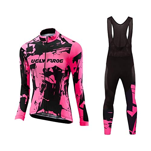 Uglyfrog Radsport Anzüge Damen Winter Warm halten with Fleece Langarm-Radsport-Trikot+Lange Lätzchen Dicht with Gel Pad Breathable Classic Bicycle Set